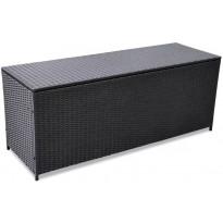 Puutarhan säilytyslaatikko, 150x50x60 cm, musta polyrottinki