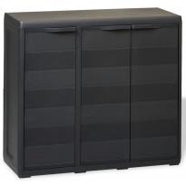 Puutarhan varastokaappi 2 hyllyä musta