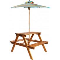 Lasten piknikpöytä aurinkovarjolla, 79x90x60 cm, täysi akaasiapuu