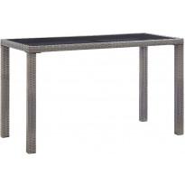 Puutarhapöytä, 123x60x74 cm, antrasiitti polyrottinki, Verkkokaupan poistotuote