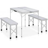 Retkipöytä 2 penkillä, alumiini, valkoinen