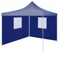 Juhlateltta kokoontaittuva, 2 sivuseinää, 2x2m, teräs, sininen