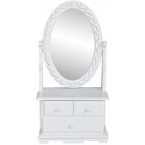 Pieni peilipöytä soikealla käännettävällä peilillä mdf