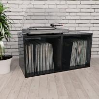 Vinyylilevyjen säilytyslaatikko musta 71x34x36 cm lastulevy