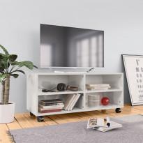 Tv-taso rullapyörillä korkeakiilto valk. 90x35x35cm
