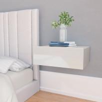 Kelluva yöpöytä korkeakiilto valkoinen 40x30x15 cm lastulevy