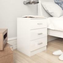 Yöpöydät 2 kpl korkeakiilto valkoinen 38x35x56 cm lastulevy