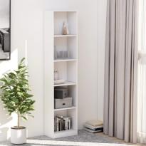5-tasoinen kirjahylly valkoinen 40x24x175 cm lastulevy