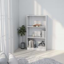 3-tasoinen kirjahylly korkeak. valkoinen 60x24x108cm