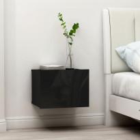 Yöpöydät 2kpl korkeakiilto musta 40x30x30cm lastulevy