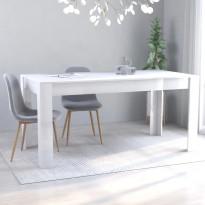 Ruokapöytä korkeakiilto valkoinen 160x80x76 cm lastulevy, Verkkokaupan poistotuote