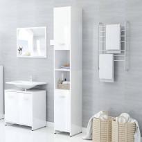 Kylpyhuonekaappi korkeakiilto valkoinen 30x30x183,5 cm