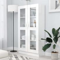 Vitriinikaappi korkeakiilto valkoinen 82,5x30,5x150 cm