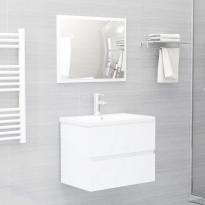 Kaksiosainen kylpyhuoneen kalustesarja valkoinen lastulevy
