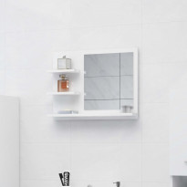 Kylpyhuonepeili korkeakiilto valkoinen 60x10,5x45 cm