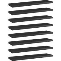 Kirjahyllytasot 8 kpl korkeakiilto musta 40x10x1,5 cm