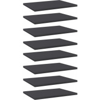 Kirjahyllytasot 8 kpl harmaa 40x30x1,5 cm lastulevy