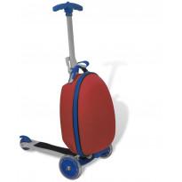 Lasten potkulauta, matkalaukulla, punainen