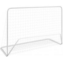 Jalkapallomaali verkolla, teräs, 182x61x122cm, valkoinen