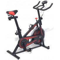 Spinningpyörä, sykemittauksella, musta/punainen