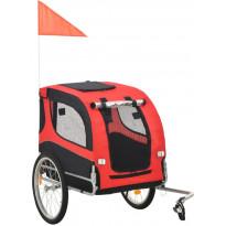 Koirankuljetuskärry polkupyörään, 90x73x137cm, punainen/musta, Verkkokaupan poistotuote