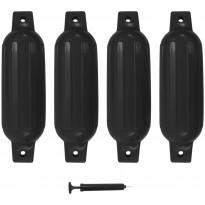 Veneen lepuuttaja, 4 kpl, musta, 41x11,5 cm, PVC