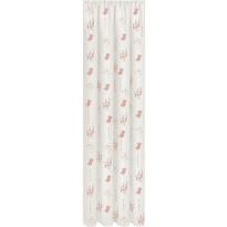 Sivuverho Gerster, 140x245cm, kukkakuvio, vaalea roosa, luomupuuvilla