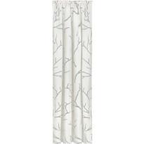 Sivuverho Gerster, 140x245cm, oksakuvio, harmaa, luomupuuvilla