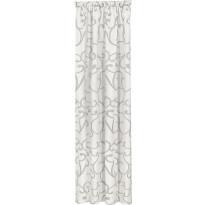 Sivuverho Gerster, 140x245cm, koukerokuvio, harmaa, luomupuuvilla