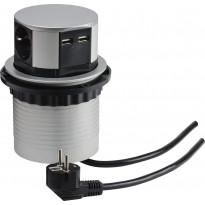 Upotettava pistorasia Gelia 3-schuco +2 USB 1.5m kaapeli pistokkeella