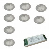 LED-valosarja Grip Slim kromi 8-osainen