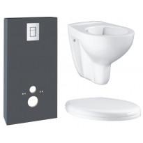 Seinä-WC-paketti Grohe Monobloc, kaulukseton istuin, kotelointiratkaisu, asennusteline, kansi ja painike, harmaa