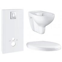 Seinä-WC-paketti Grohe Monobloc, kaulukseton istuin, kotelointiratkaisu, asennusteline, kansi ja painike, valkoinen