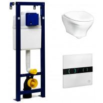 Seinä-WC-paketti Gustavsberg Estetic 8330, Triomont XS -asennusteline + kosketusvapaa painike, valkoinen