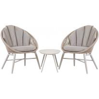 Parvekesetti Home4you Shelly, pöytä + 2 tuolia, harmaa