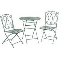 Parvekesetti Home4you Mint, pöytä + 2 tuolia, takorauta, antiikkivihreä