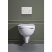 Seinä-WC -paketti Hafa Wall NoRim 1273366, sis. WC-istuin + huuhtelujärjestelmä + kromi huuhtelupainike