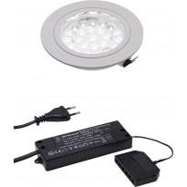 LED-spottivalo Hafa, ø 55mm, 1,65W, IP44, kromi + muuntaja