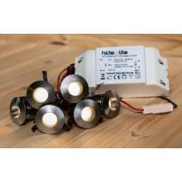 LED-saunavalaisinsetti Hide-a-lite Heatspot G2, 2700K, teräs