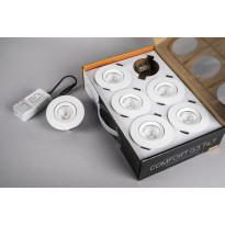 LED-alasvalosarja Hide-a-lite Comfort G3 Tilt, 6-Pack, 2700K, valkoinen