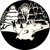 Muumi-matto Hestia, Ø100cm, musta/valkoinen