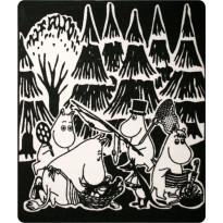 Muumi-matto Hestia Muumi Picnic, 133x195cm, musta/valkoinen