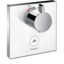 Suihkutermostaatti Hansgrohe ShowerSelect Glass HighFlow, käyttöventtiilille, valkoinen/kromi