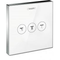 Suihkun käyttöventtiili Hansgrohe ShowerSelect Glass, valkoinen/kromi