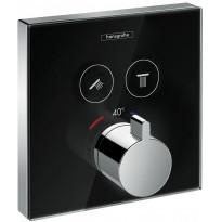 Suihkutermostaatti Hansgrohe ShowerSelect Glass, musta/kromi