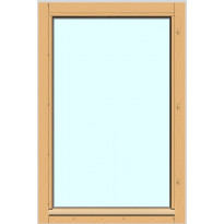 Yksilasinen ikkuna HR-Ikkunat, 6x9, suojakäsitelty karmi, kiinteä ikkuna, tasolasi