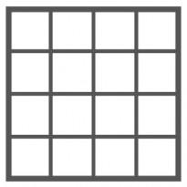 16 ruutua (4 ruutua vierekkäin - 4 ruutua allekkain)