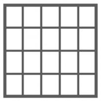 20 ruutua (5 ruutua vierekkäin - 4 ruutua allekkain)