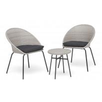 Parvekekalusto Klövervik, 2 tuolia+kahvipöytä, harmaa, Verkkokaupan poistotuote
