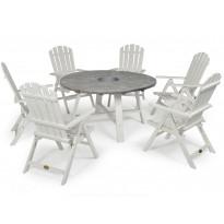 Pöytä Hillerstorp Shabby Chic, sinkkisangolla, Ø138cm, harmaa/valkoinen